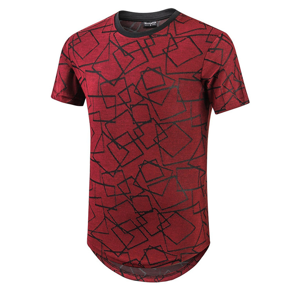 Male Short Sleeves and Round Neck Top Floral Printed Pullover Casual Slim T-shirt  red_L