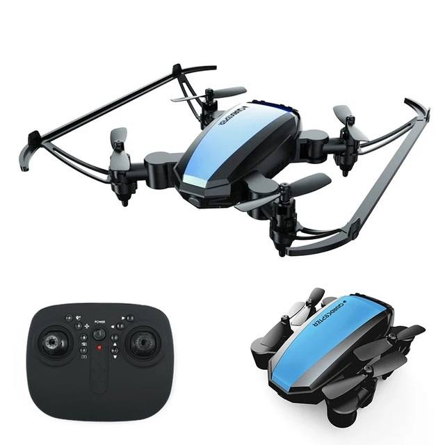 GW125 Mini Drone Quadrocopter 2.4G 4CH RC Helicopter Micro Pocket Folding Dron for Kids Toys for Boys blue