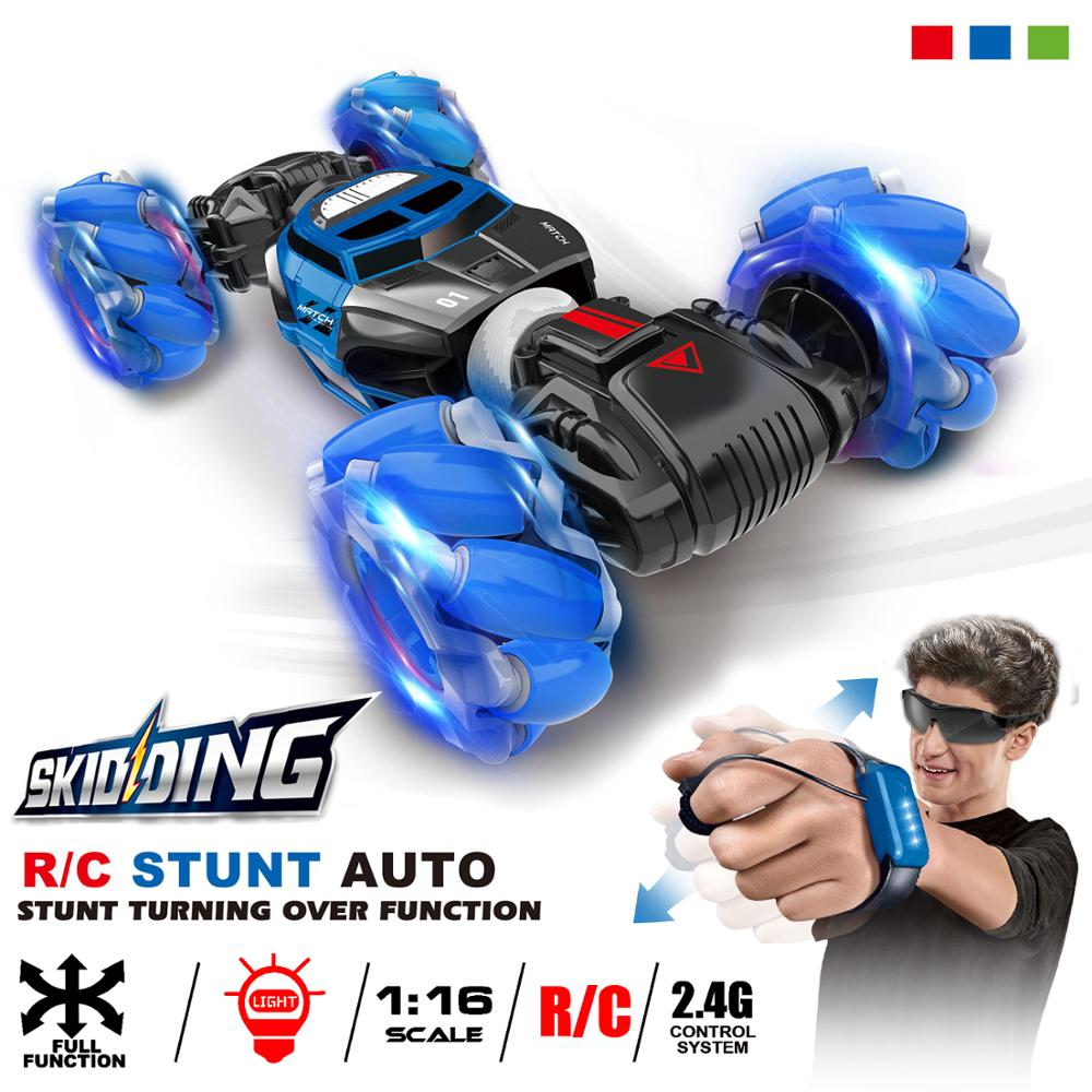 1:16 4WD RC Stunt Car Watch Control Deformable Gesture Induction with LED Light Electric Transform Drift Toy blue