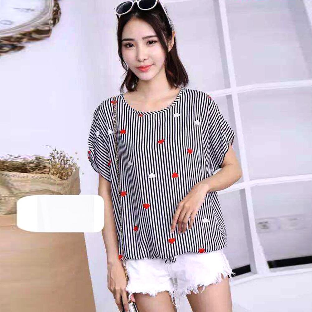 Women Loose Fashion Print Short Sleeve T-shirt Chiffon Breathable Shirt 6_free size