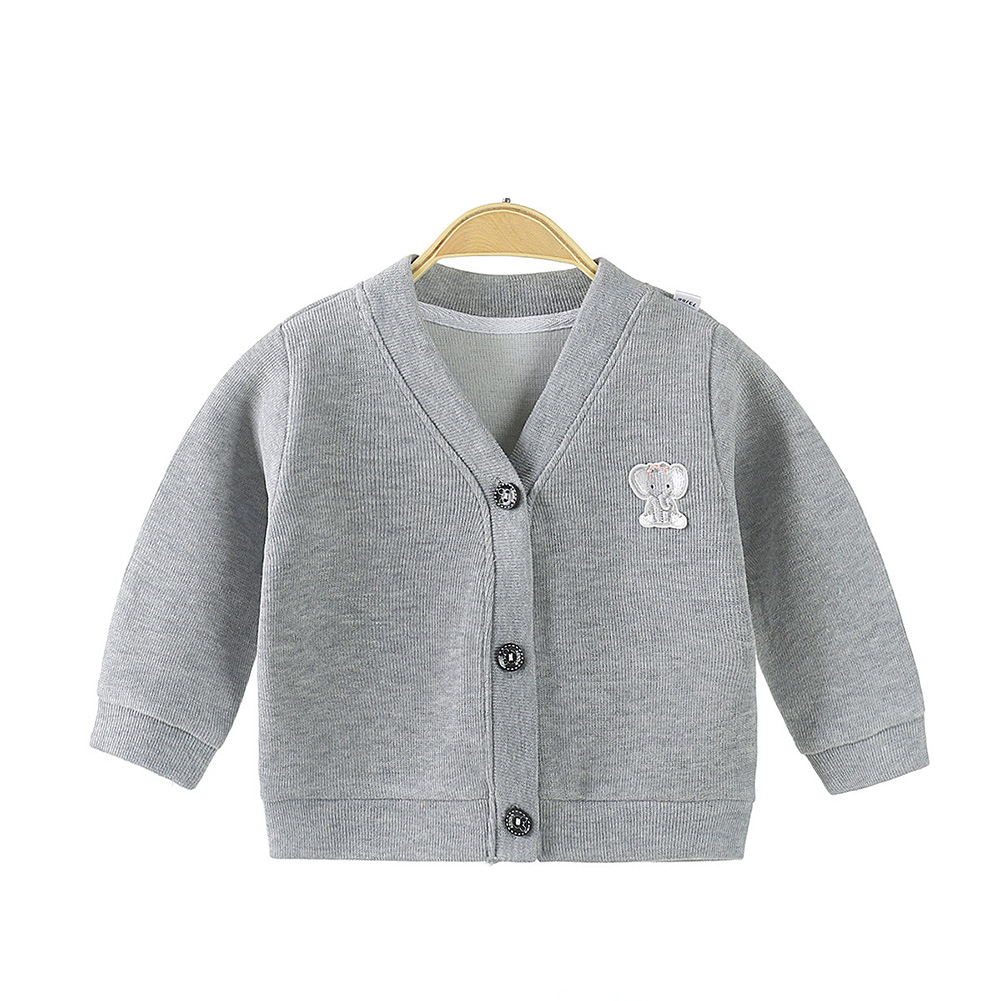 Children's Sweater Cardigan Cartoon Pattern Jacket for  0-3 Years Old Kids gray_100cm