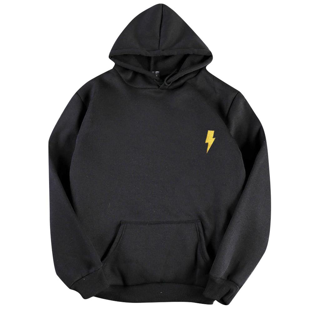 Men Women Hoodie Sweatshirt Thicken Velvet Flash Loose Autumn Winter Pullover Tops Black_M