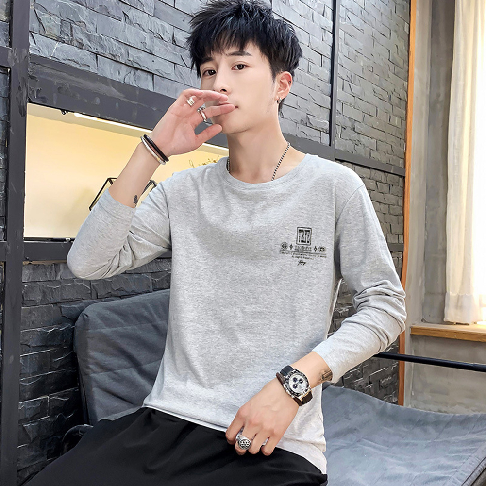 Men Autumn Long Sleeve Round Neck Solid Color Print T-Shirt Cotton Bottoming Shirt Tops gray_L