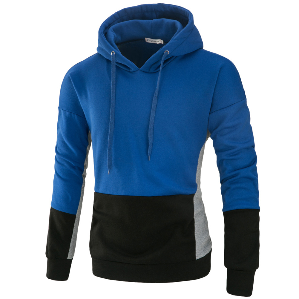 Men Autumn Stitching Hooded Pullover Casual Long Sleeve Sweater Coat Tops Royal blue_2XL