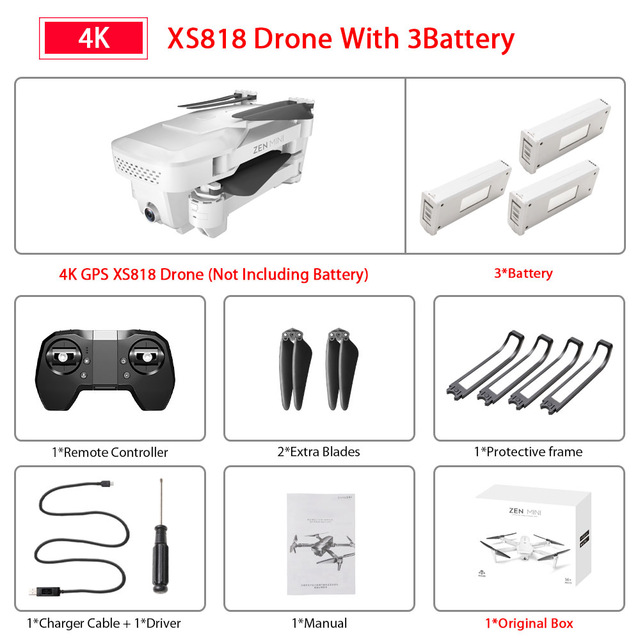 XS818 Drone FPV HD 4K GPS Quadrocopter With WIFI Camera Dron Foldable Drone Selfie RC Quadcopter Drones Helicopter Toy 3 battery