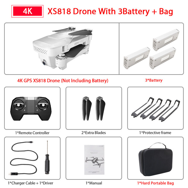 XS818 Drone FPV HD 4K GPS Quadrocopter With WIFI Camera Dron Foldable Drone Selfie RC Quadcopter Drones Helicopter Toy Storage bag 3 batteries