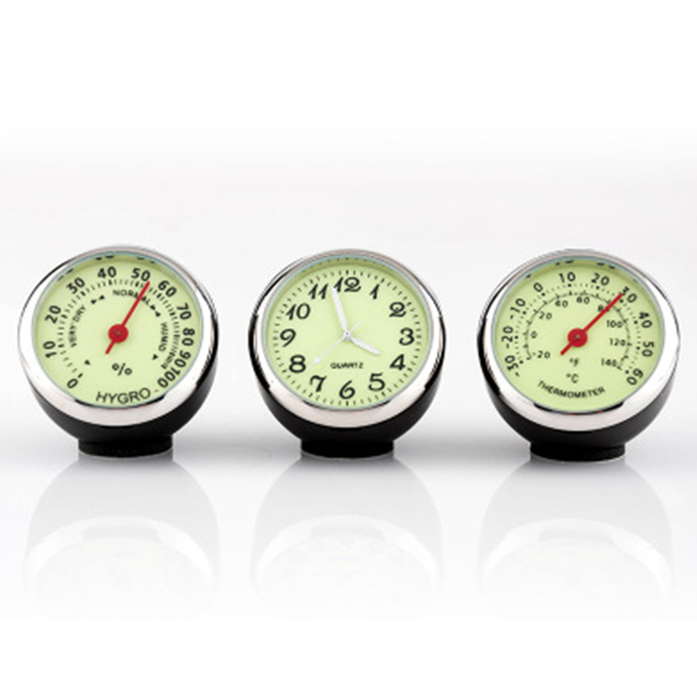 Mini Car Automobile Clock /Auto Automotive Thermometer/ Humidity Meter Decoration Clock  Fluorescent 3pcs/set