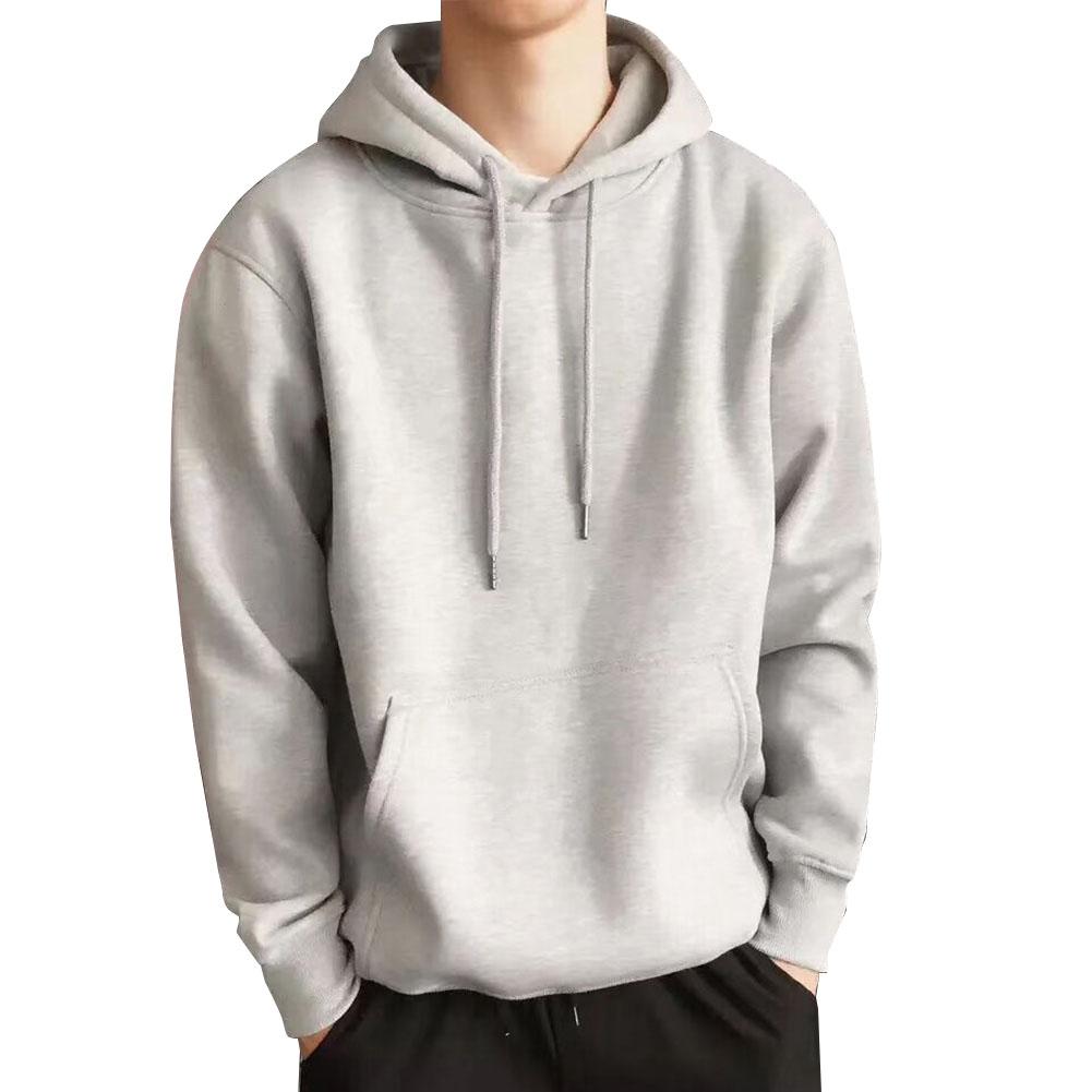 Men Kangaroo Pocket Plain-Colour Sweaters Hoodies for Winter Sports Casual  light grey_L
