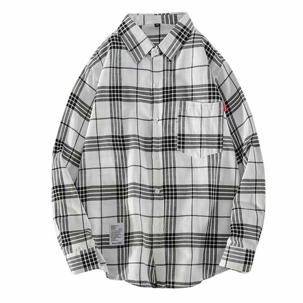 Men's Shirt Casual Long-sleeved Lapel Plaid Pattern Slim Shirt White _M