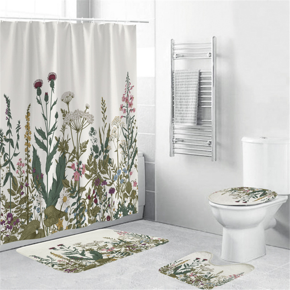 4Pcs/Set Shower Curtain 180*180cm Non-Slip Rug Toilet Lid Cover Bath Mat for Bathroom yul-2131
