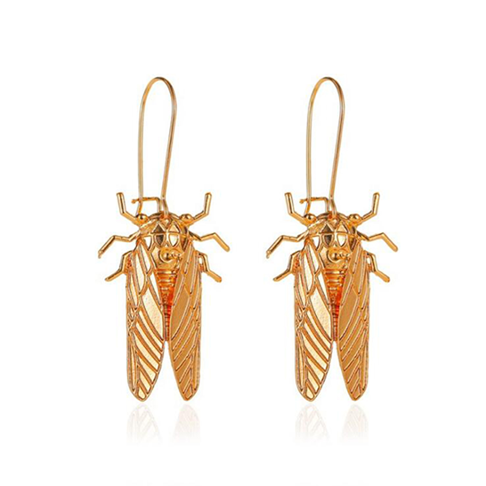 1 Pair of Women's Earrings Alloy Insect-shape Long Earrings  Golden