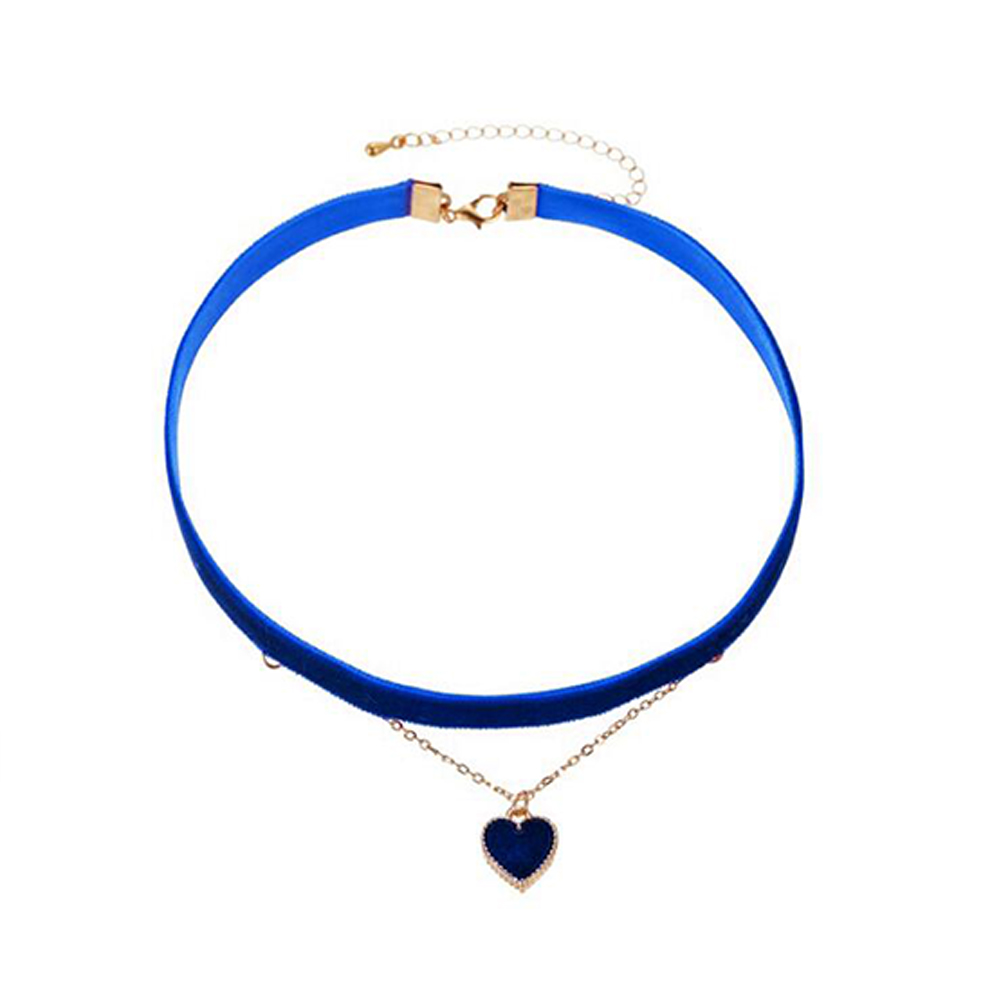 Women's Necklace Flannel Sexy Double-layer Love-heart Pendant Clavicle Chain Dark blue