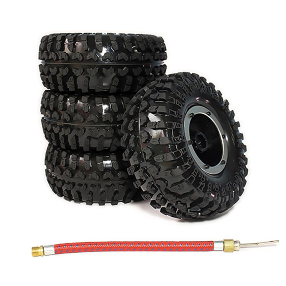 4pcs 2.2 Inch Inflatable Beadlock Tire Air Pneumatic Wheel For 1/10 RC Crawler Truck Car Silver