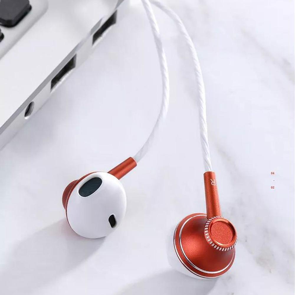 Joyroom E208 Mobile Stereo Handsfree Headphones Metal Earphone Earbuds red_E208