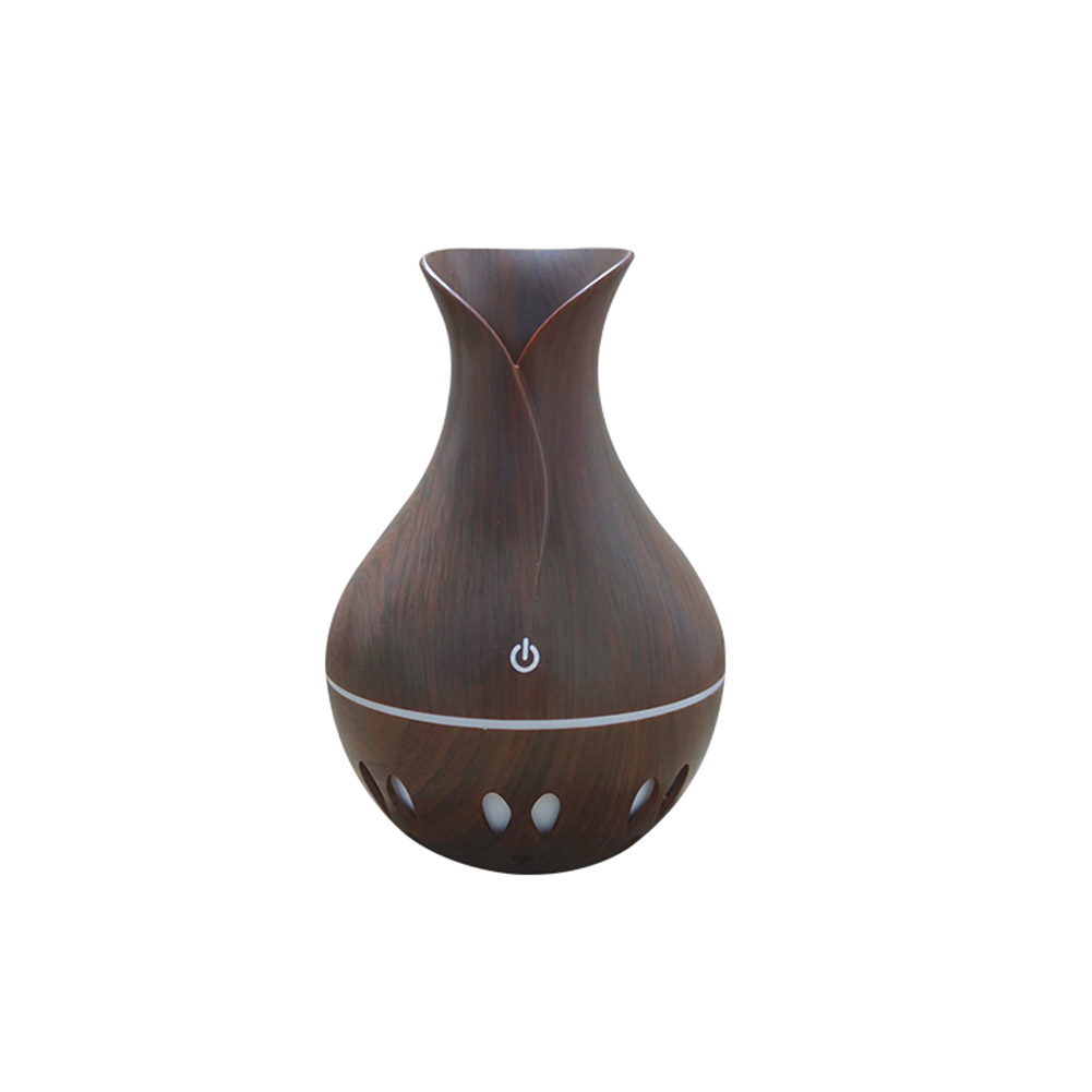 USB Wood Grain Air Humidifier Aromatherapy Diffuser with 7 Colors Change Night Light  Dark wood grain