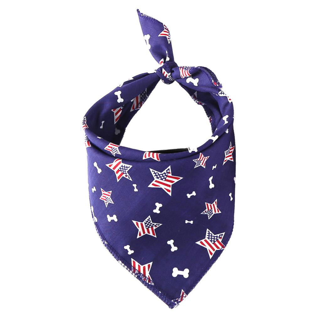 Pet Dog Saliva Towel American Flag Cat Dog Printing Bibs Scarf Collar  Blue flag