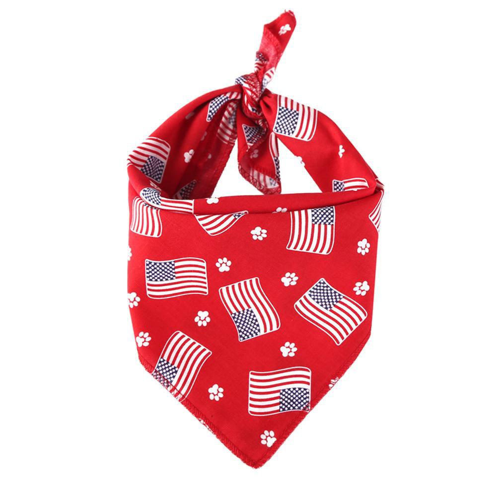 Pet Dog Saliva Towel American Flag Cat Dog Printing Bibs Scarf Collar  Red flag