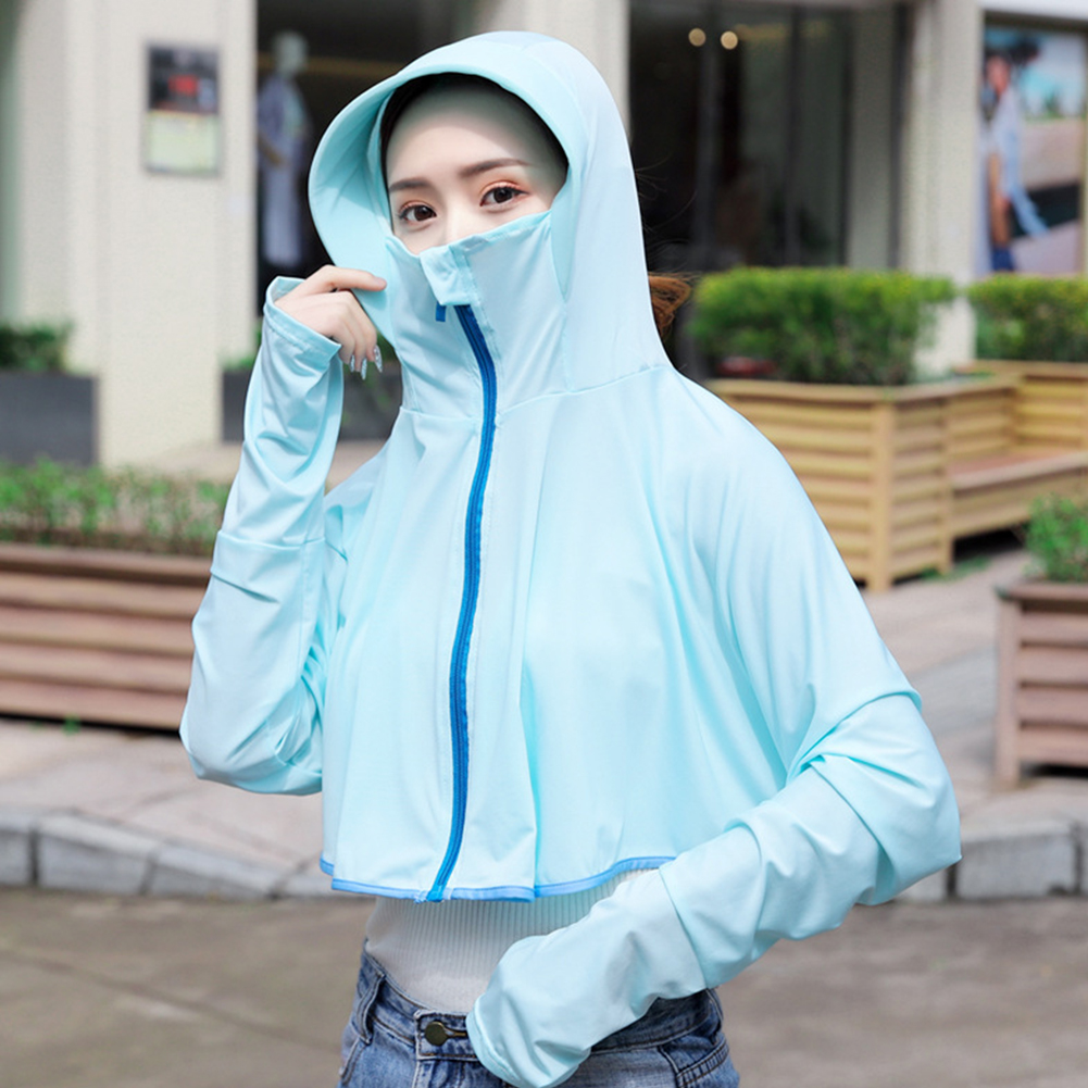 Women Sunscreen Clothing Summer Hooded Breathable Shawl Outdoor Zipper Riding Sun Protection Clothing Light blue_One size