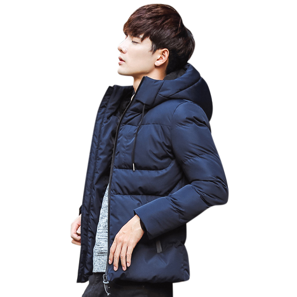 Men Solid Color Winter Coat Hooded Short Thicken Winter Warm Coat Cotton Jacket Royal blue_L