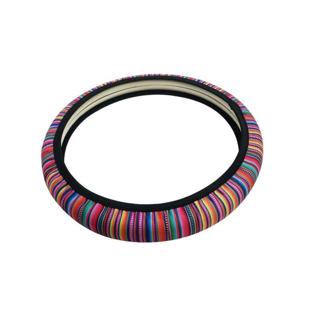 Car Steering Wheel Cover Non-slip Colorful Stripe Printing Steering Wheel Cover 37-38cm Universal Colorful stripes_Universal