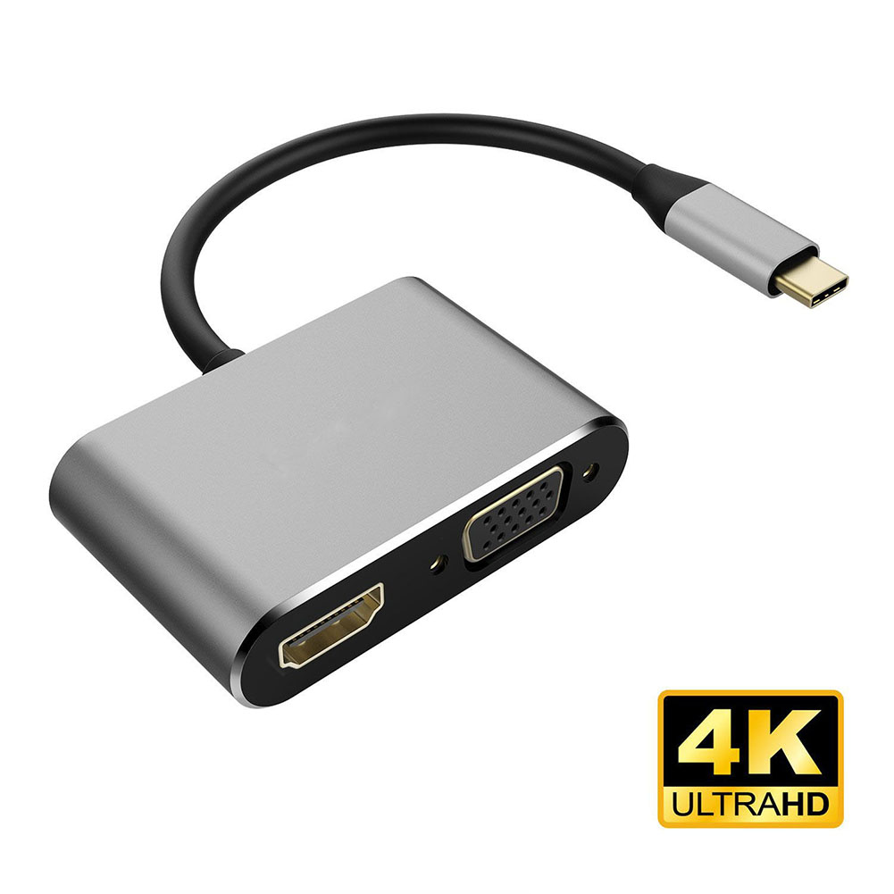 USB 3.1 Type-C to HDMI VGA Adapter 2 in1 VGA HDMI 4K UHD Dual Screen Display Adapter for New MacBook 12
