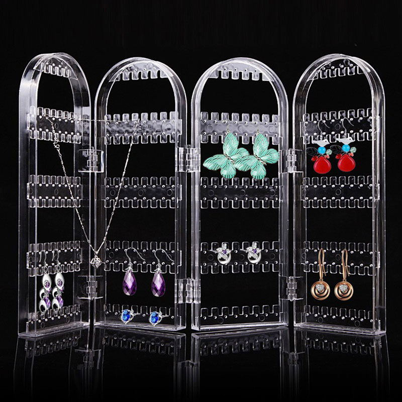 Foldable Clear Screen Jewelry Earring Stand Rack 4-Panel 240 Hole Earrings Showcase Display Organizer Holder Perfect For Necklace Bracelet Clear_D061 four page