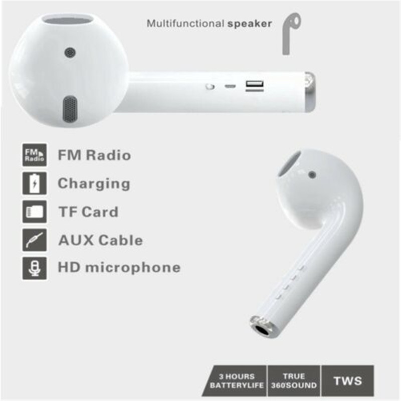Speakers Air pods Shaped Wireless Stereo Speakers Bluetooth Gift white