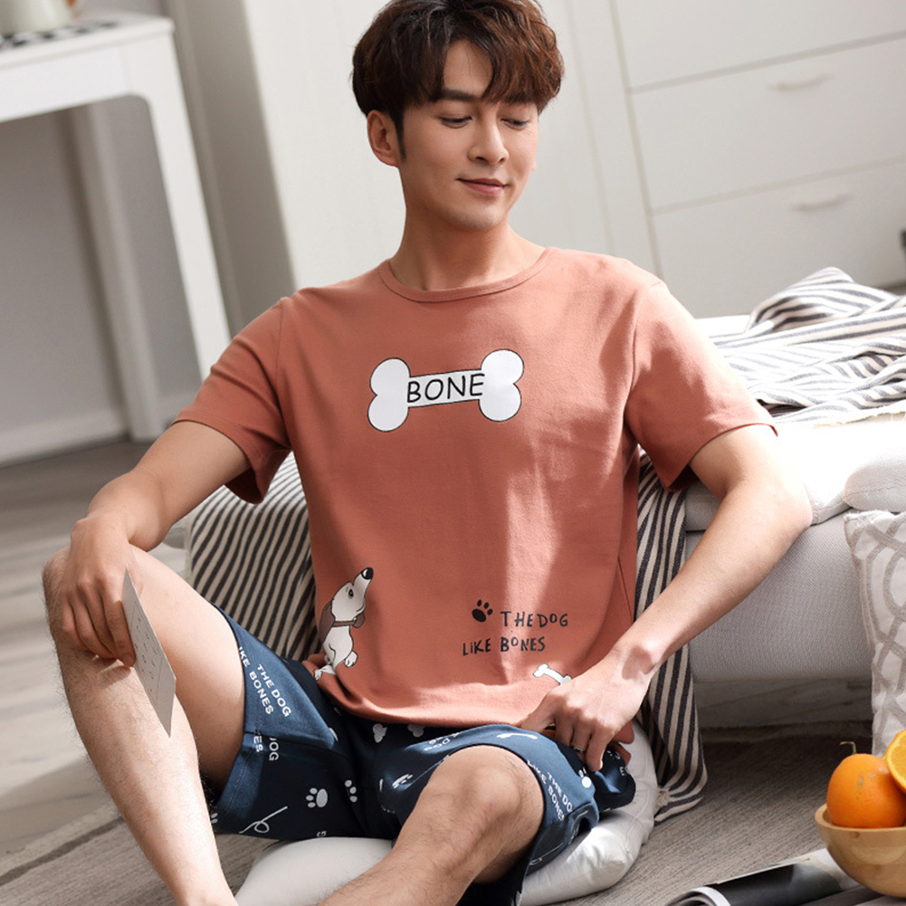 Couples Men And Women Summer Thin Cotton Two-piece Suit Casual Short-sleeved Tops+Shorts Homewear Pajamas 711-3 men_L