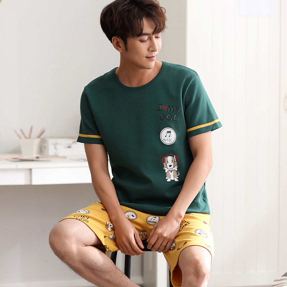 Couple Summer Round Neckline Cotton Short-sleeved Thin Shirt + Shorts Two-piece Outfit 719 men_XXXL