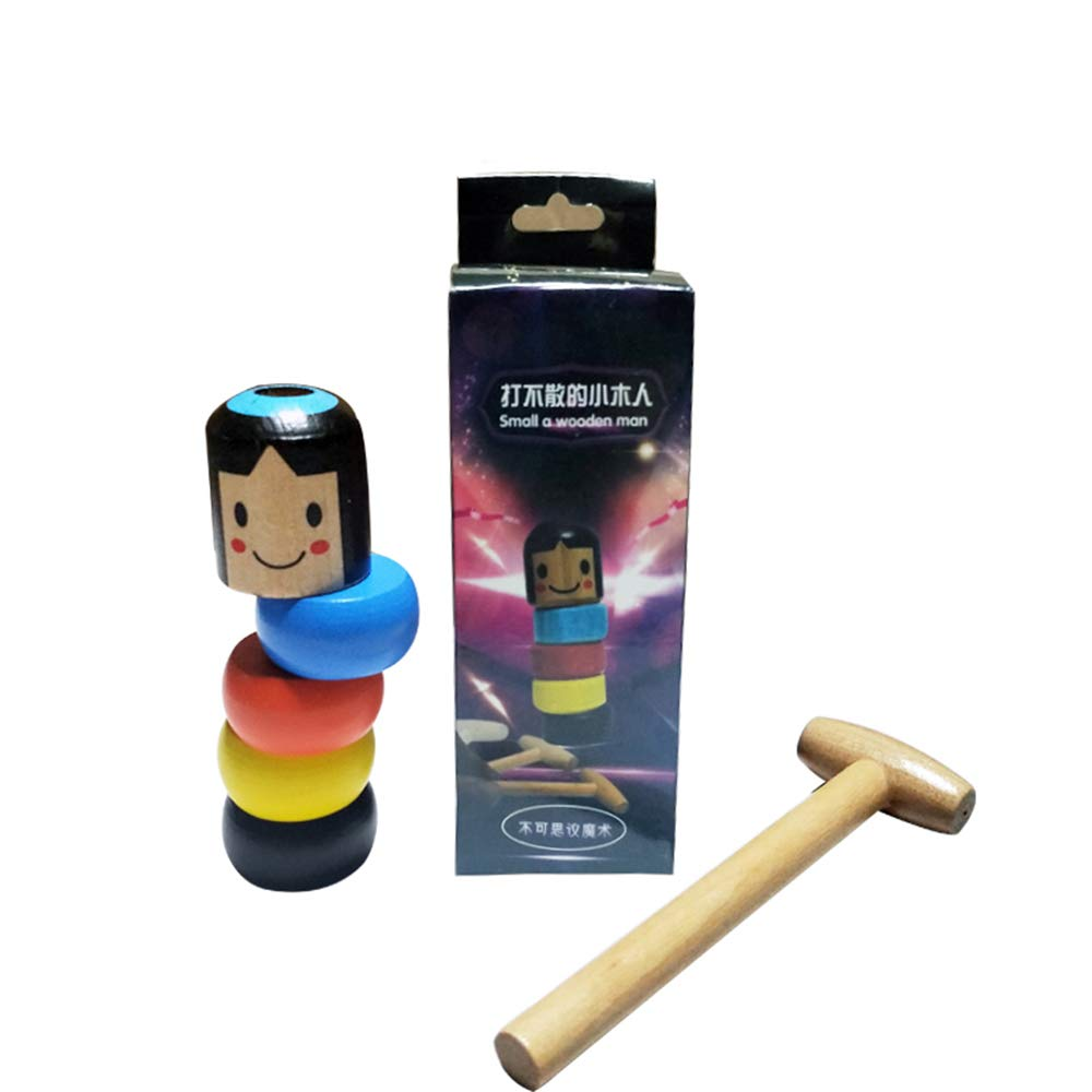 [Indonesia Direct] A Little Small Wooden Unbreakable Man Puppet Funny Toy Magic Gift for Adult Kids colorful package