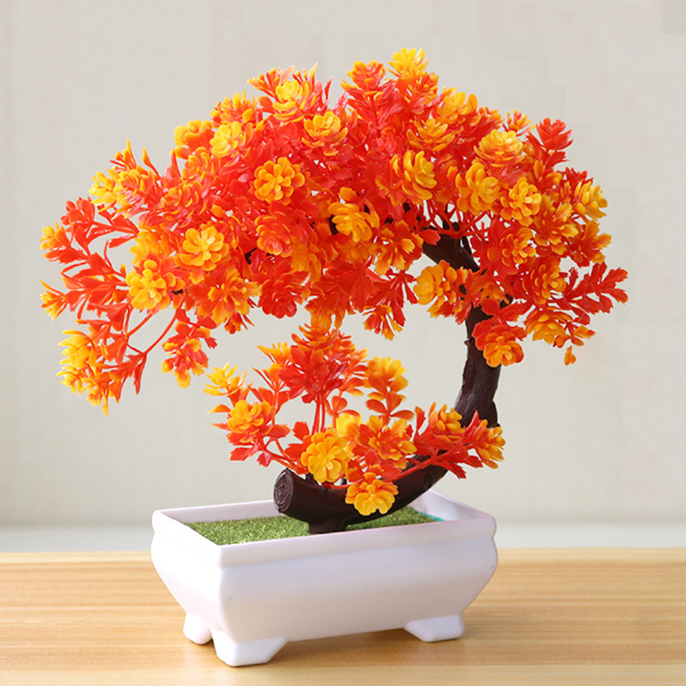 [Indonesia Direct] Artificial Potted Plant for Home Dining-table Office Decoration Orange
