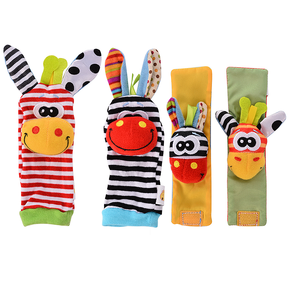 [Indonesia Direct] 4 x Newest Wrist Rattles Hands Foots finders Baby Infant Soft Toy Developmental by lanlan