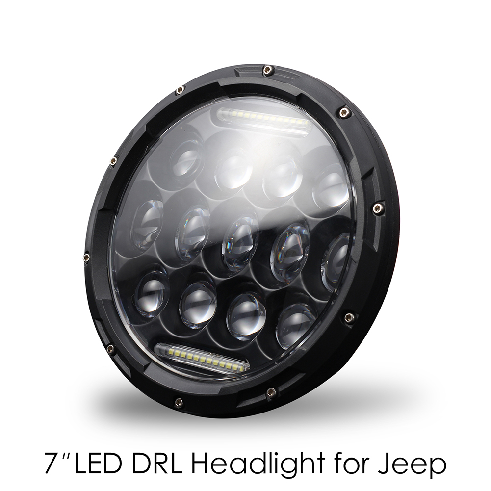[Indonesia Direct] High Power H4/H13 7 Inch 300w Round LED Headlights Turn Signal Light White DRL white_6500K