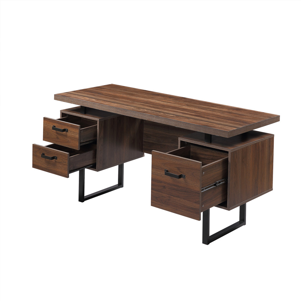 [US Direct] Mdf Computer  Desk With Drawers For Home Office 59