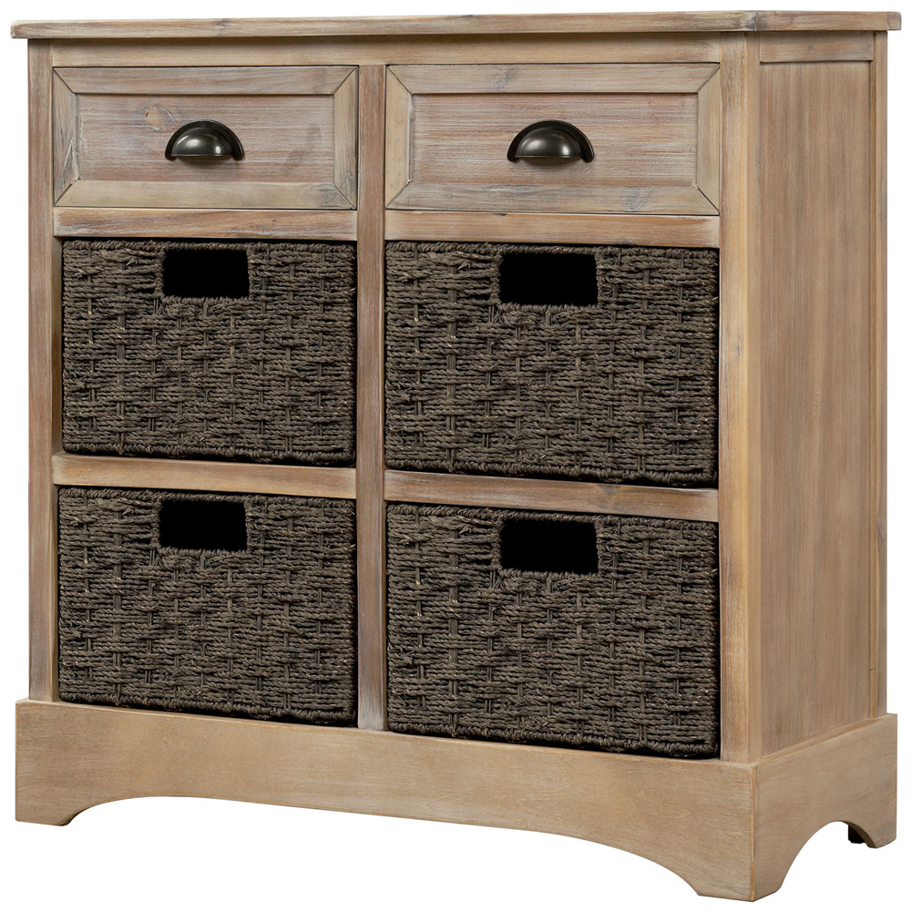 [US Direct] Rustic Storage  Cabinet With Two Drawers+four Classic Rattan Basket Household Furniture brown