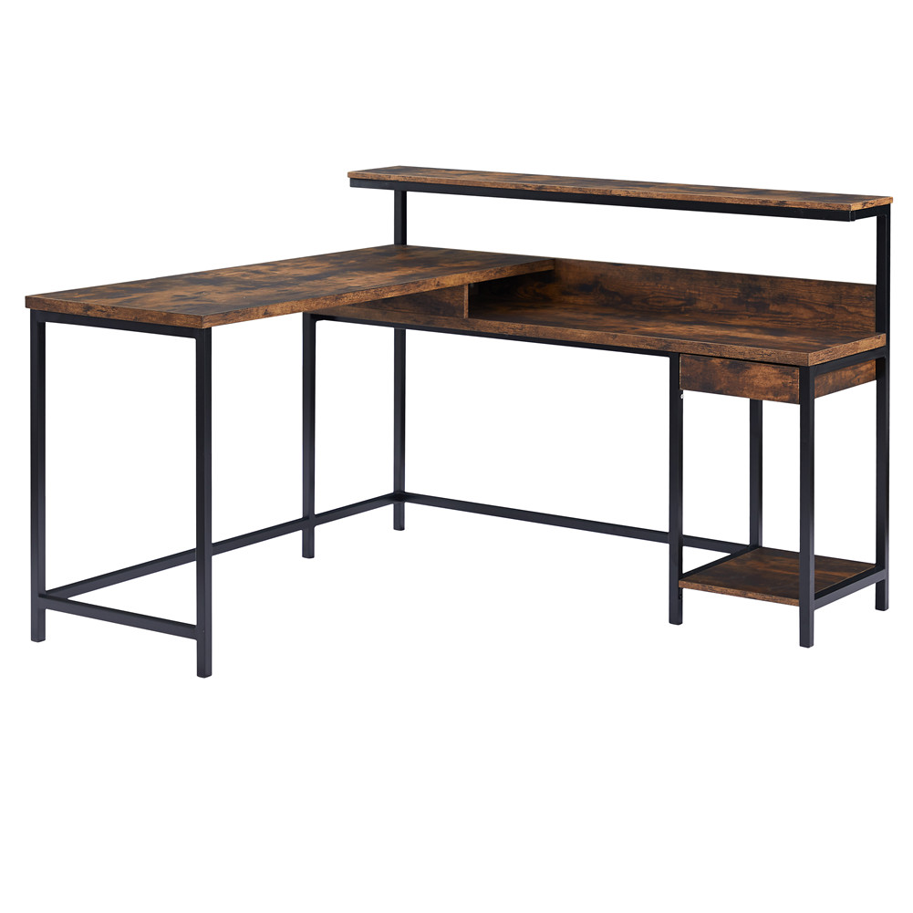 [US Direct] L-shaped Computer  Desk With Monitor Shelf Cpu Stand Study Desk Large Workstation For Home Office brown