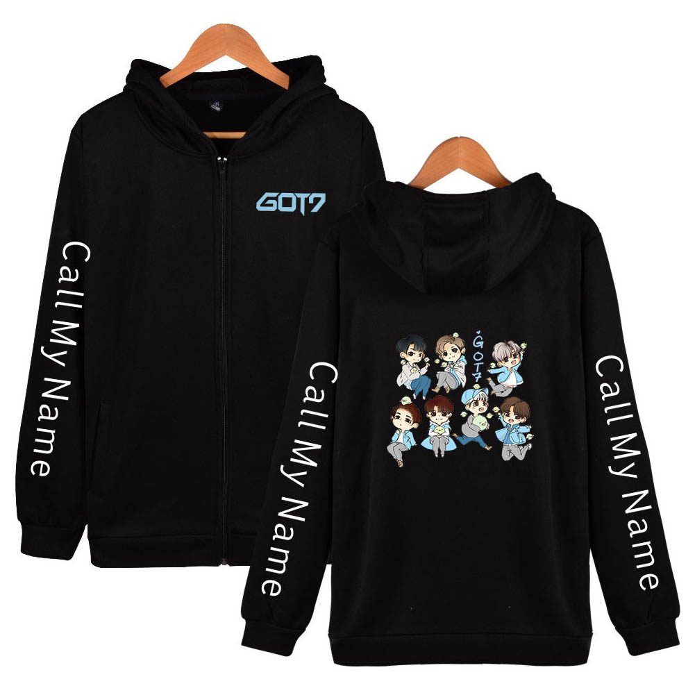 Zippered Casual Hoodie with Cartoon GOT7 Pattern Printed Leisure Top Cardigan for Man and Woman Black C_XXXL