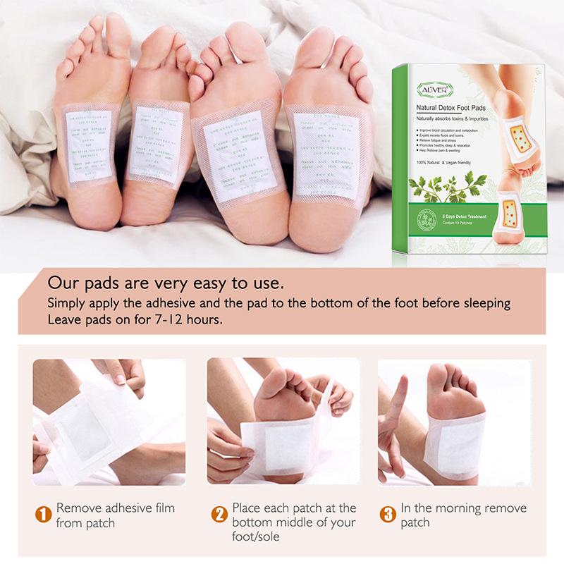 10Pcs/box Foot Patch Moxa Ginger Bamboo Vinegar Detox Dehumidification Adhesive Foot Pads 10 posts