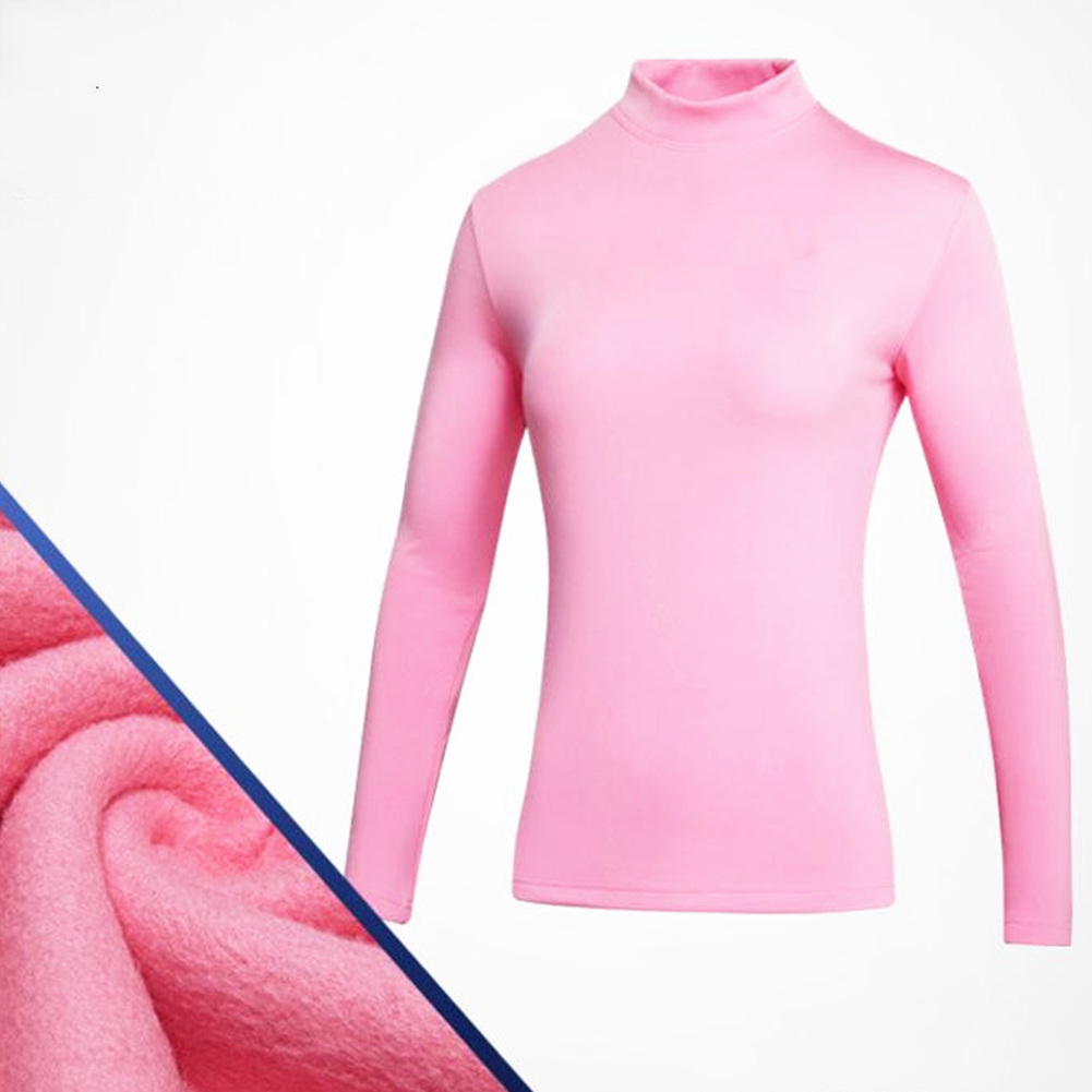 Simier Long Sleeve Golf Clothes for Women Base Shirt Pink_XL