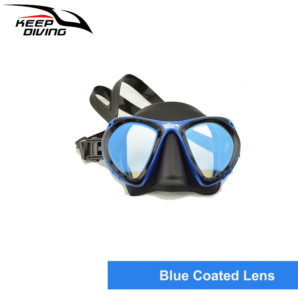 DM406+SN506 Professional Full-dry Snorkeling Mask Foldable for adult Scuba Diving Mask blue_Colorful tube lens eyeglass set