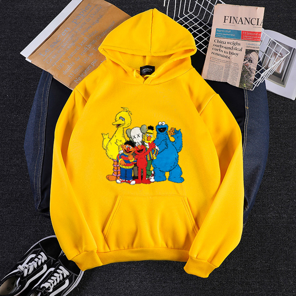 KAWS Men Women Hoodie Sweatshirt Cartoon Animals Thicken Autumn Winter Loose Pullover Yellow_XXXL