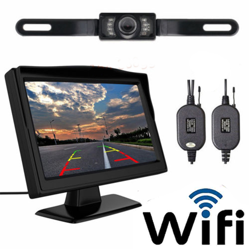 Wireless Backup Camera and Monitor Kit Rear View System Night Vision Waterproof black