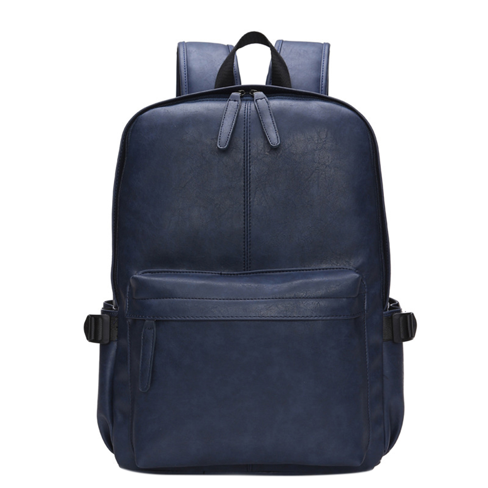 Men's Concise Soft PU Leather Travel Backpack Casual Dual Zipper Computer Bag Schoolbag for Students