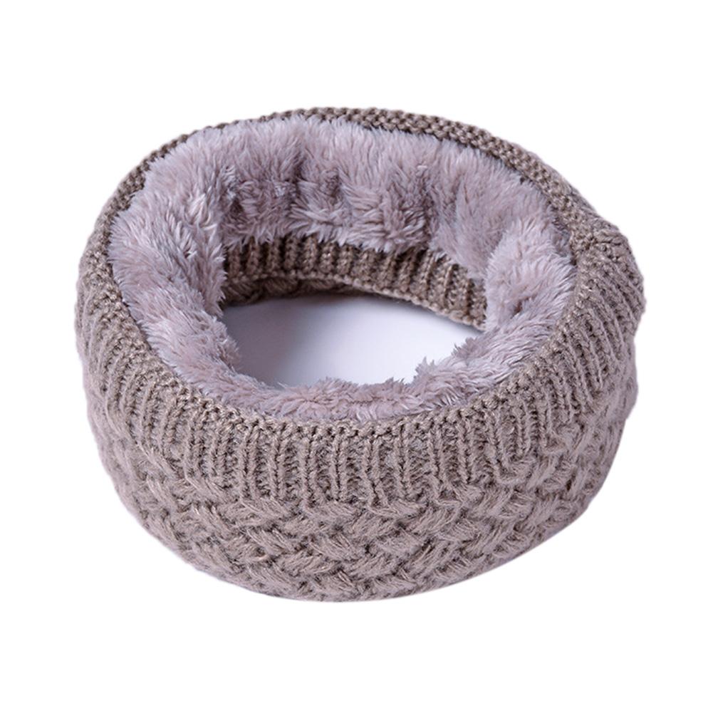 Unisex Winter Scarf Thickened Wool Knitting Collar Scarves Warm Neck Scarf  Khaki_50*20cm