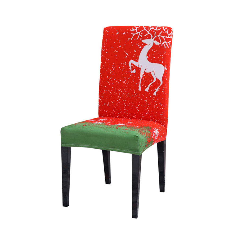 Universal Christmas Modern Chair Cover Elastic Wedding Banquet Cover Decoration Christmas moose_Universal chair cover