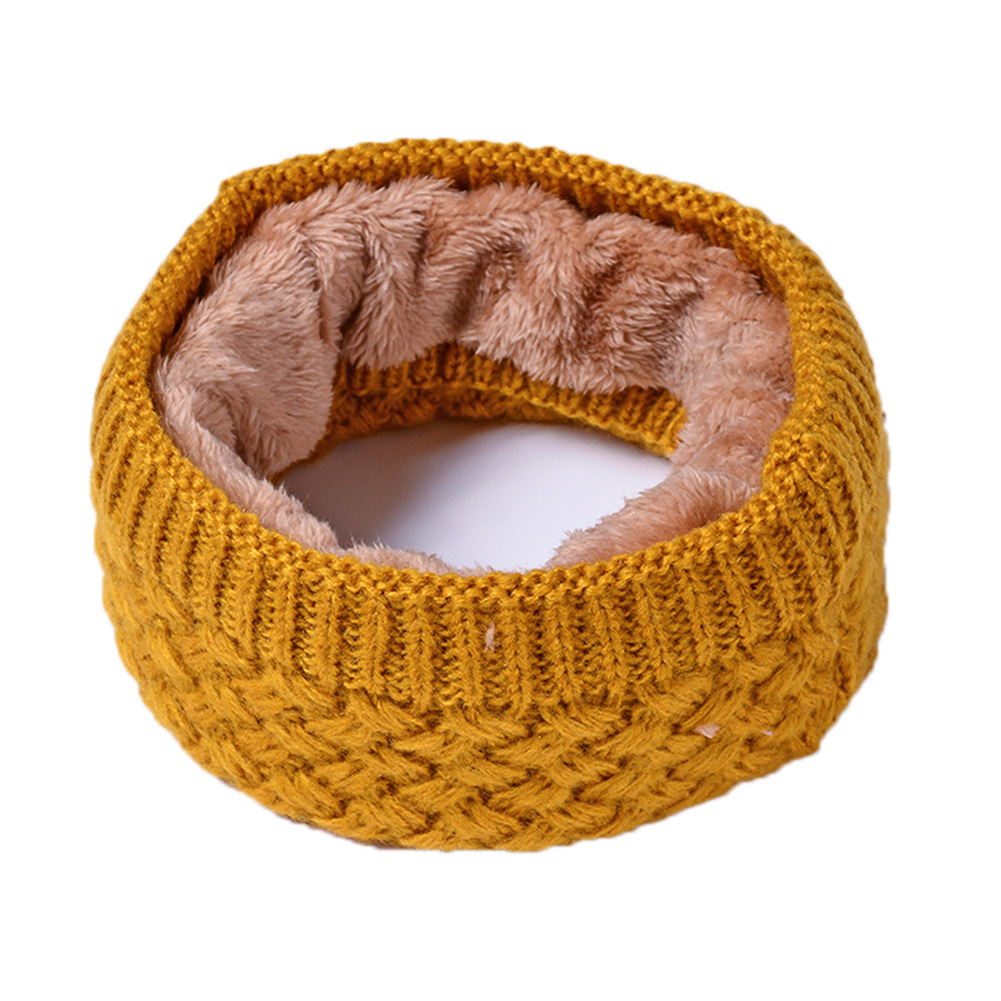 Unisex Winter Scarf Thickened Wool Knitting Collar Scarves Warm Neck Scarf  yellow_50*20cm