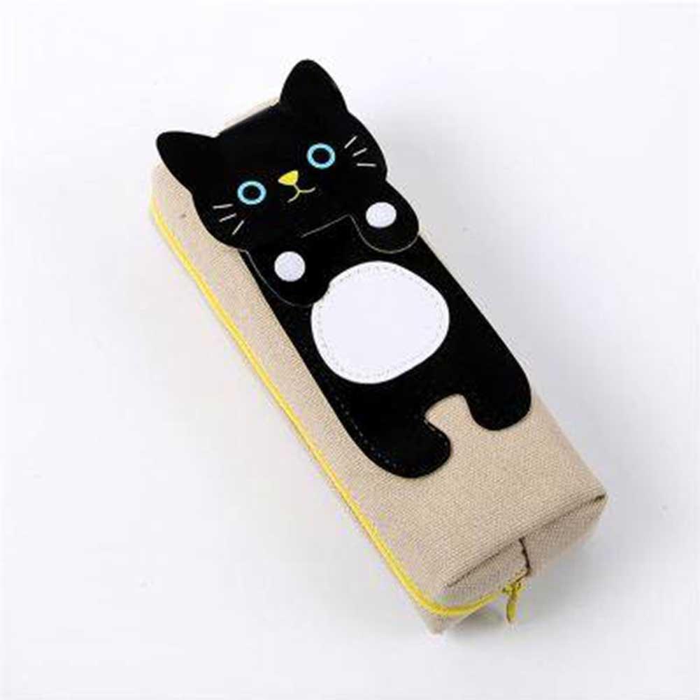 Cute Cat Pencil Box Weaving Cloth Kawaii School Cases School Pencil Case