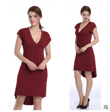 [US Direct] Missky Women's V-neck Short Sleeve Casual Dress with Irregular Hem Claret_S