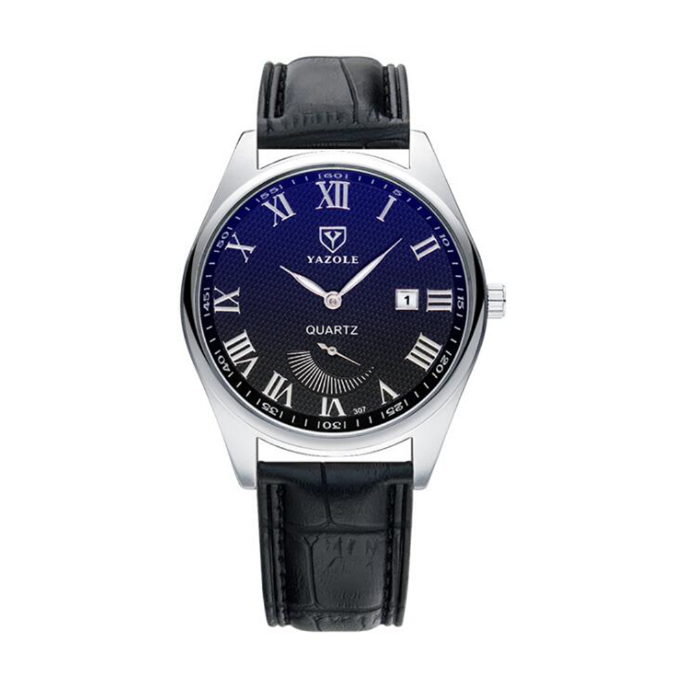 Fashion Business Style Small Pointer Luminous Calendar Lovers Watch Male black dial black belt