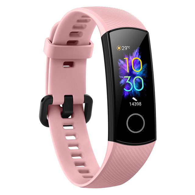 Original HUAWEI HONOR 5 384KB+1MB 100mAh Smart Bracelet Multifunctional Heart Rate Blood Oxygen 5ATM Waterproof Wristwatch Pink
